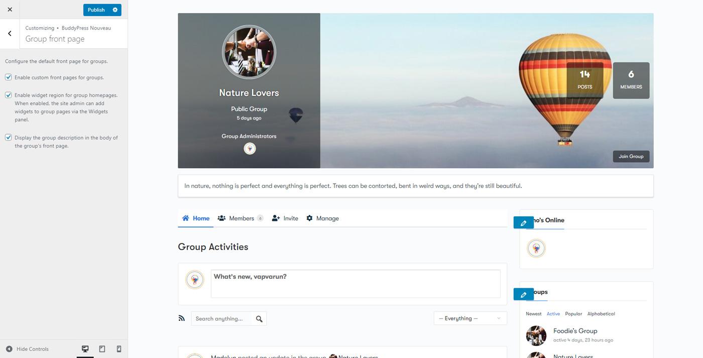 group frontpage - Wbcom Designs