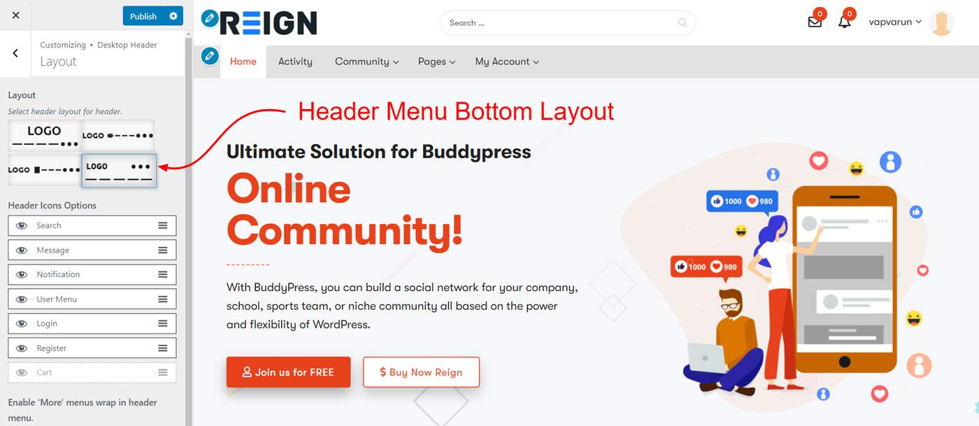 header bottom menu layout - Wbcom Designs