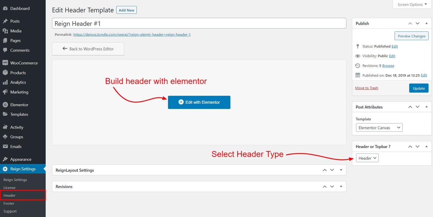 header build elementor - Wbcom Designs