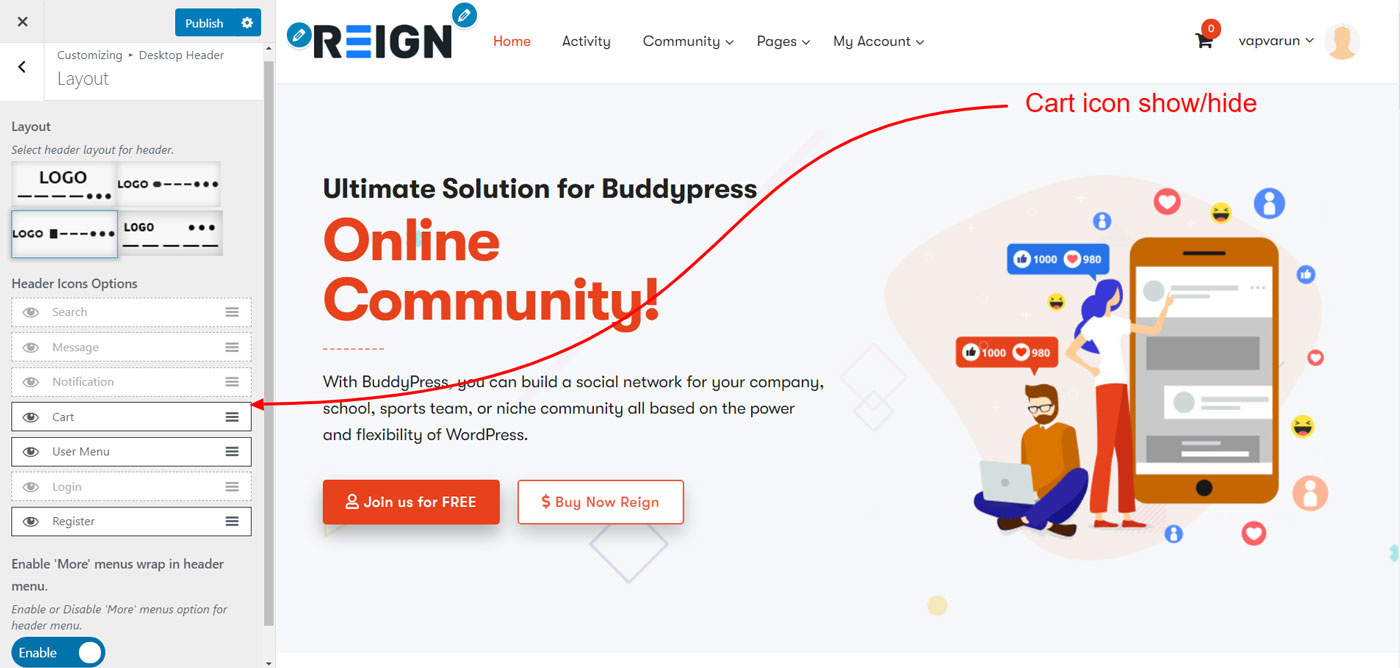 header cart icon - Wbcom Designs