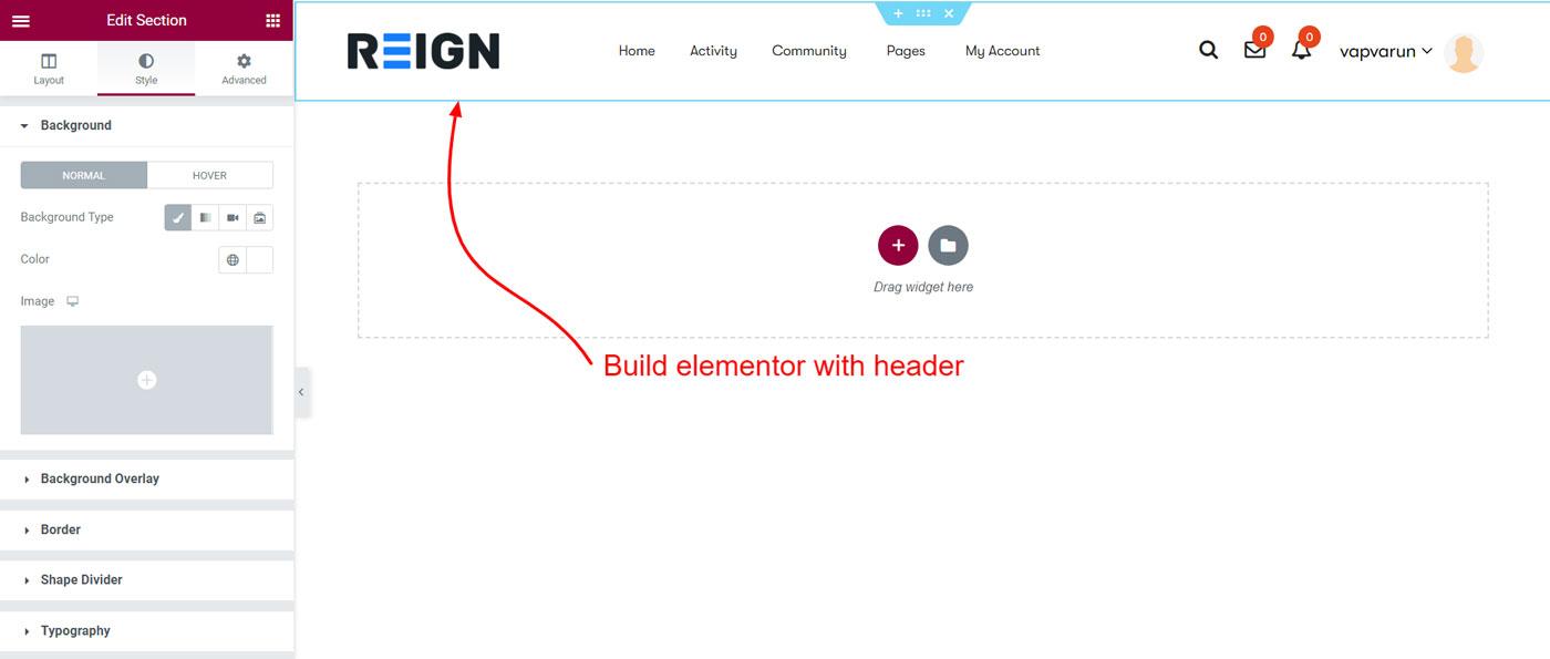 header elementor options - Wbcom Designs