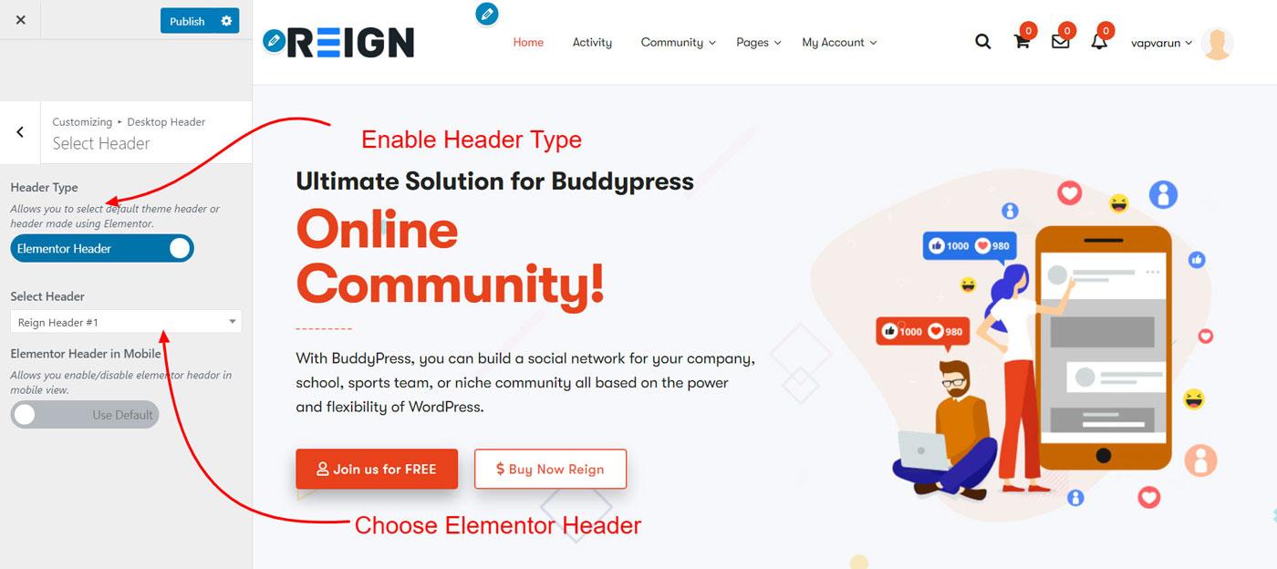 header elementor - Wbcom Designs