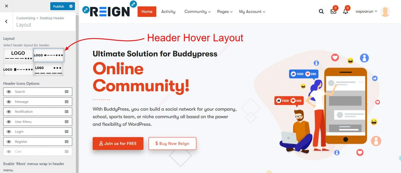 header hover layout - Wbcom Designs