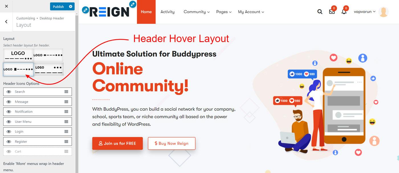 header hover menu layout - Wbcom Designs