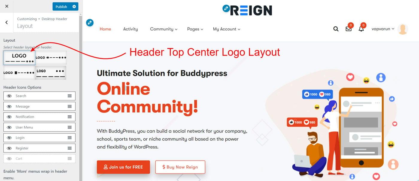 header top logo center - Wbcom Designs