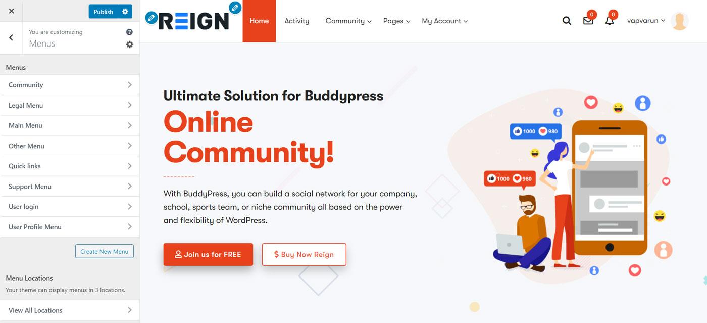 menu config - Wbcom Designs