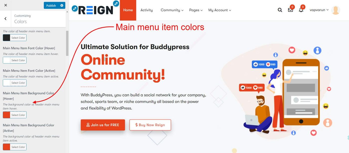 menu item colors - Wbcom Designs