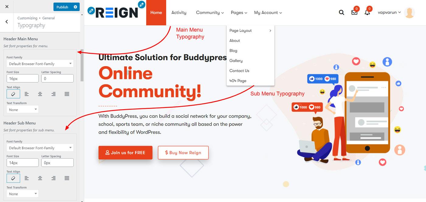 menu item typography - Wbcom Designs