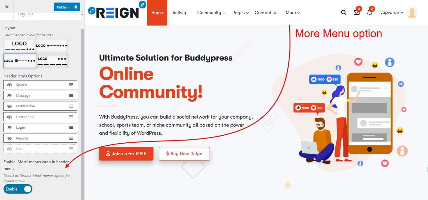 more menu option - Wbcom Designs