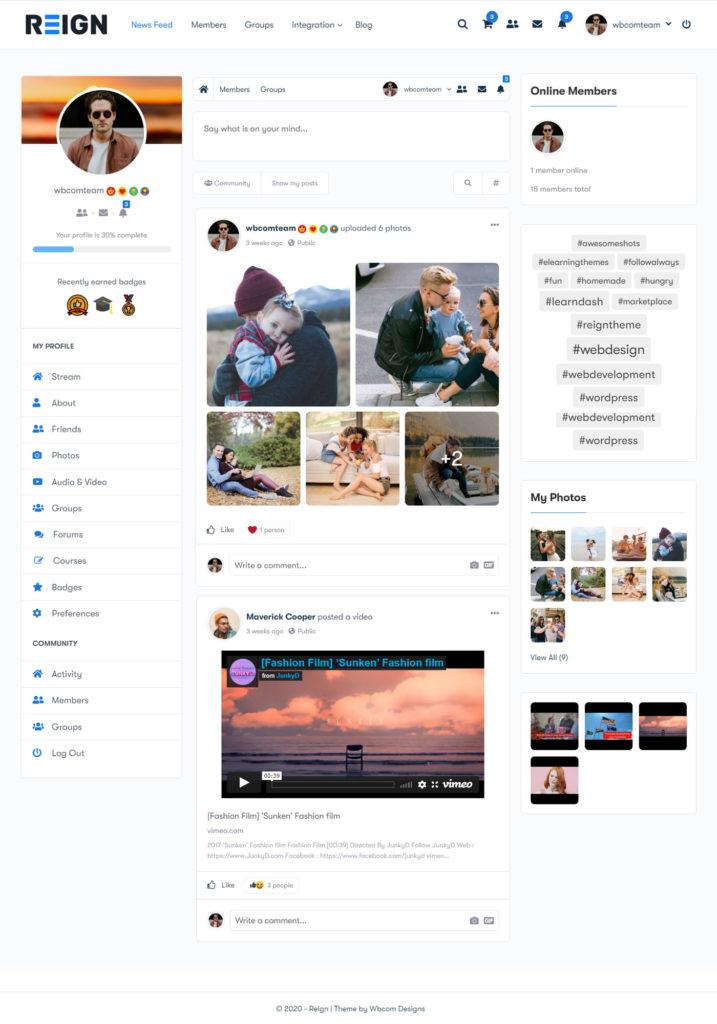 peepso newsfeed - Wbcom Designs