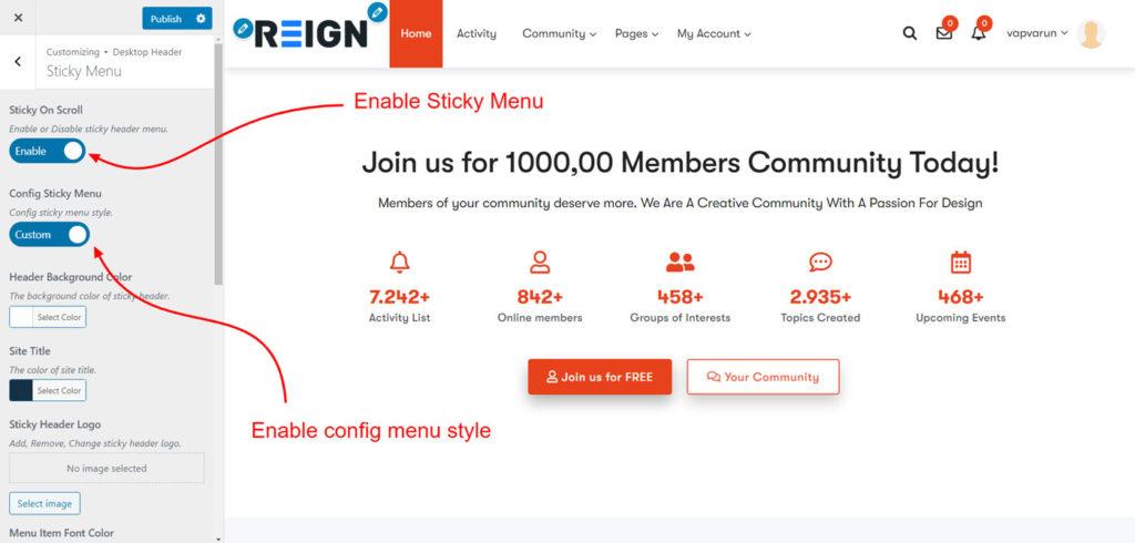 sticky menu config - Wbcom Designs