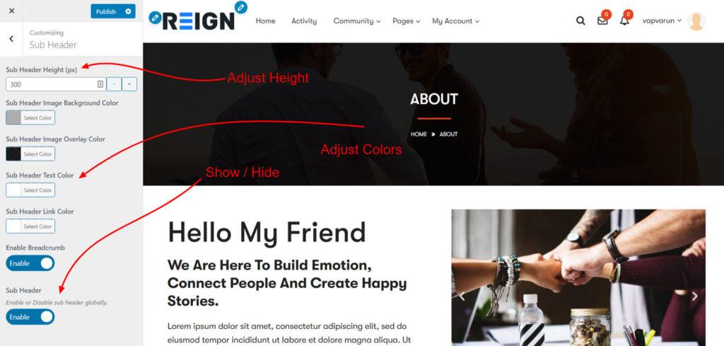 sub header - Wbcom Designs