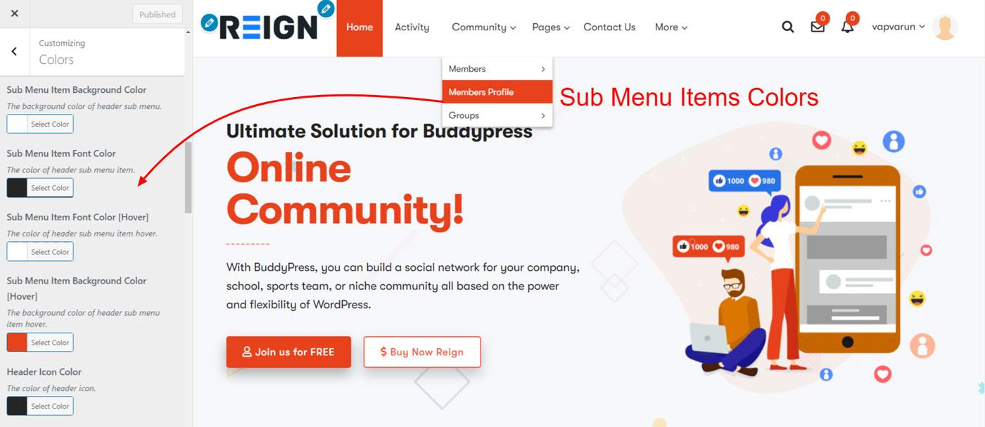 sub menu item colors - Wbcom Designs