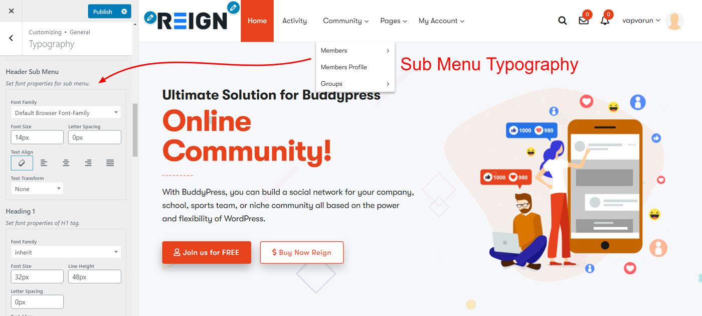 sub menu typography - Wbcom Designs