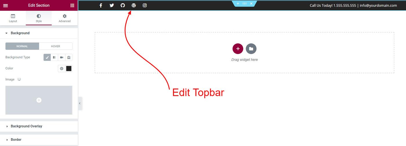 top header elementor - Wbcom Designs