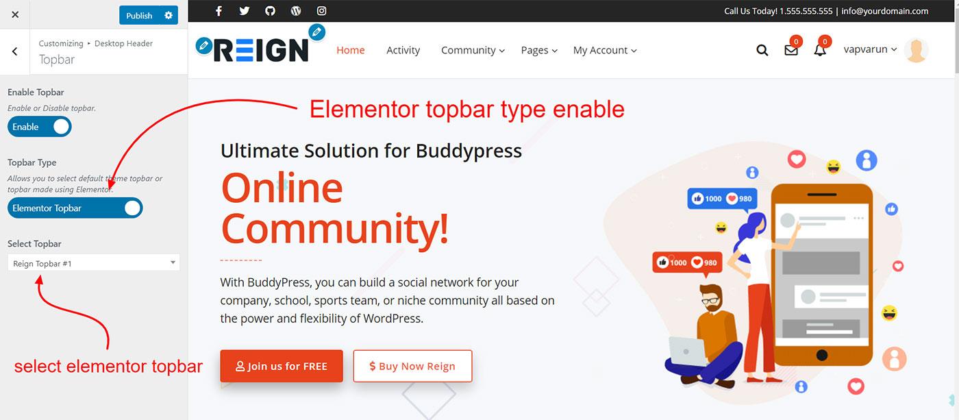 topbar customizer - Wbcom Designs