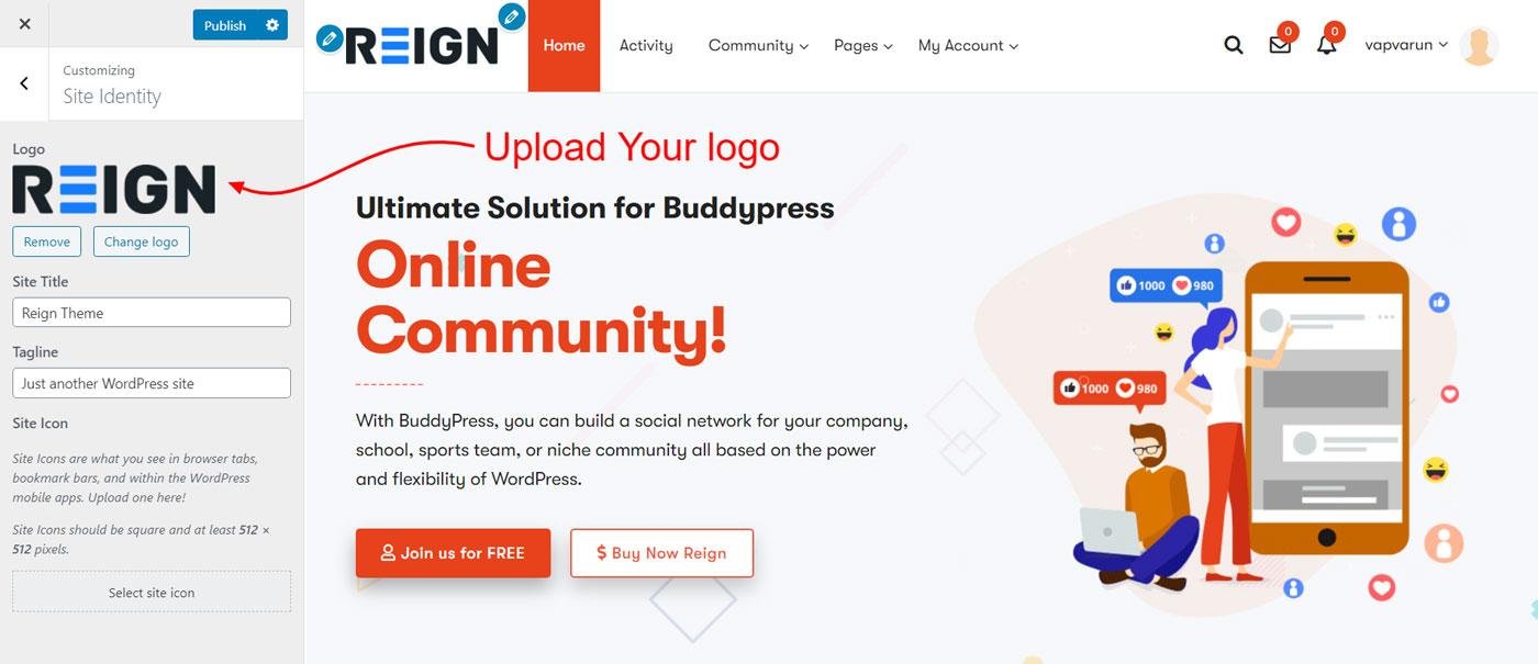 upload logo - Wbcom Designs