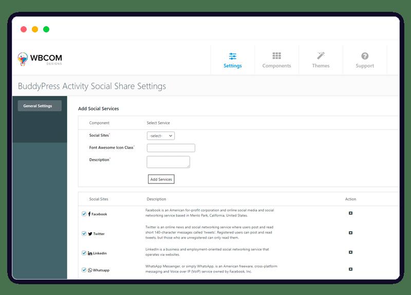 BuddyPress Activity Social Share Settings - Wbcom Designs