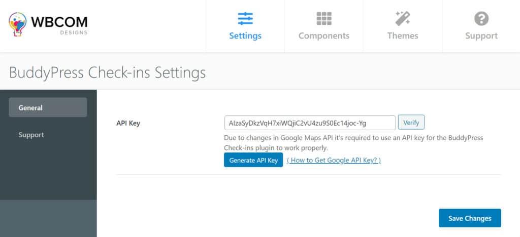 BuddyPress Check-ins settings