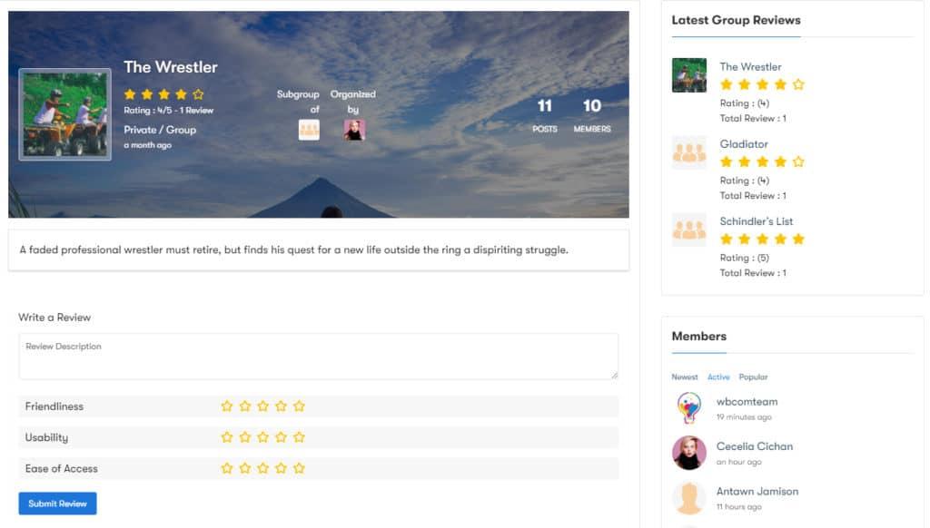 BuddyPress Group Reviews img2 - Wbcom Designs