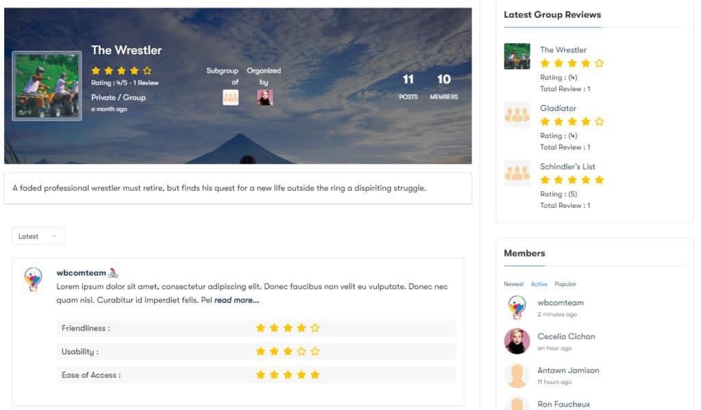 BuddyPress Group Reviews img3 - Wbcom Designs