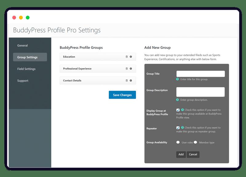 BuddyPress Profile Pro backend setting - Wbcom Designs