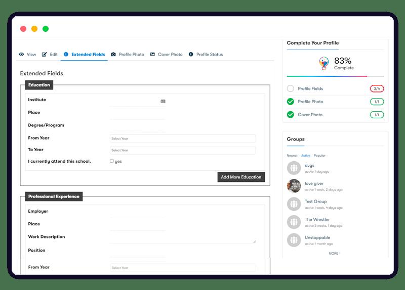 BuddyPress Profile Pro frontend setting - Wbcom Designs