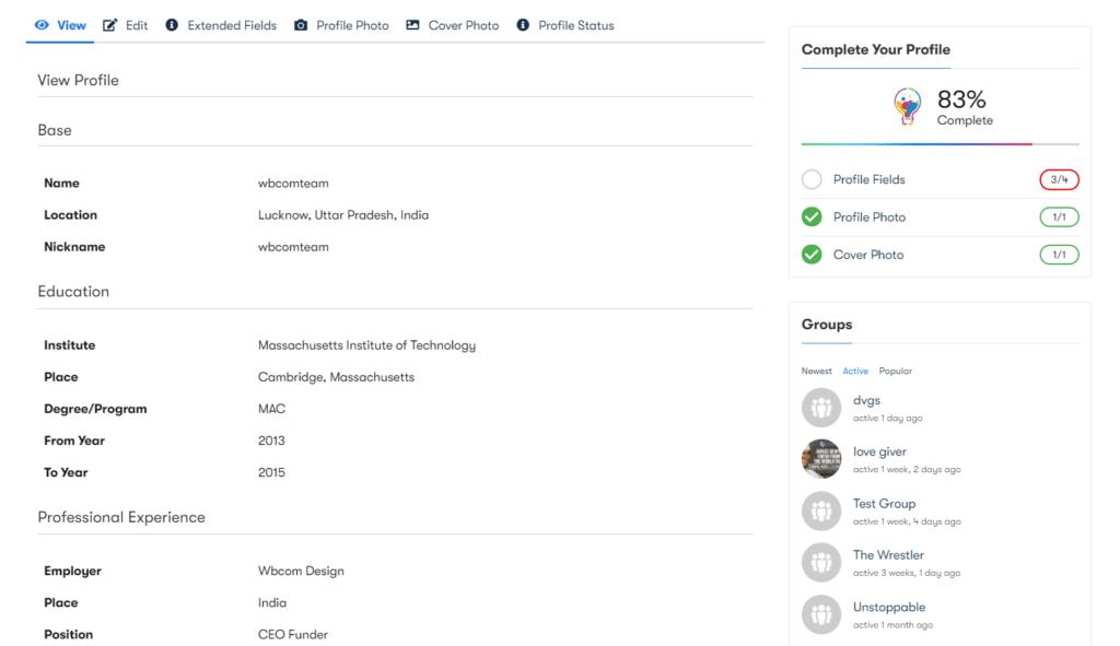 BuddyPress Profile Pro img2 - Wbcom Designs