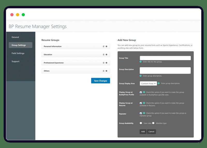 BuddyPress Resume Manager backend - Wbcom Designs