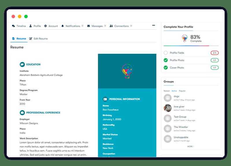 BuddyPress Resume Manager easy use - Wbcom Designs