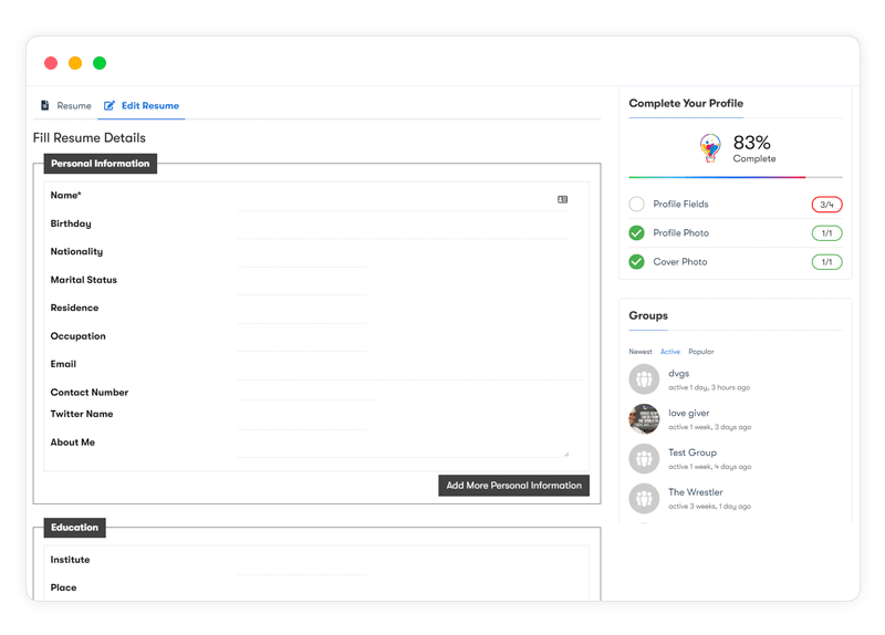 BuddyPress Resume Manager frontend - Wbcom Designs