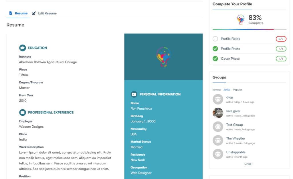BuddyPress Resume Manager img1 - Wbcom Designs