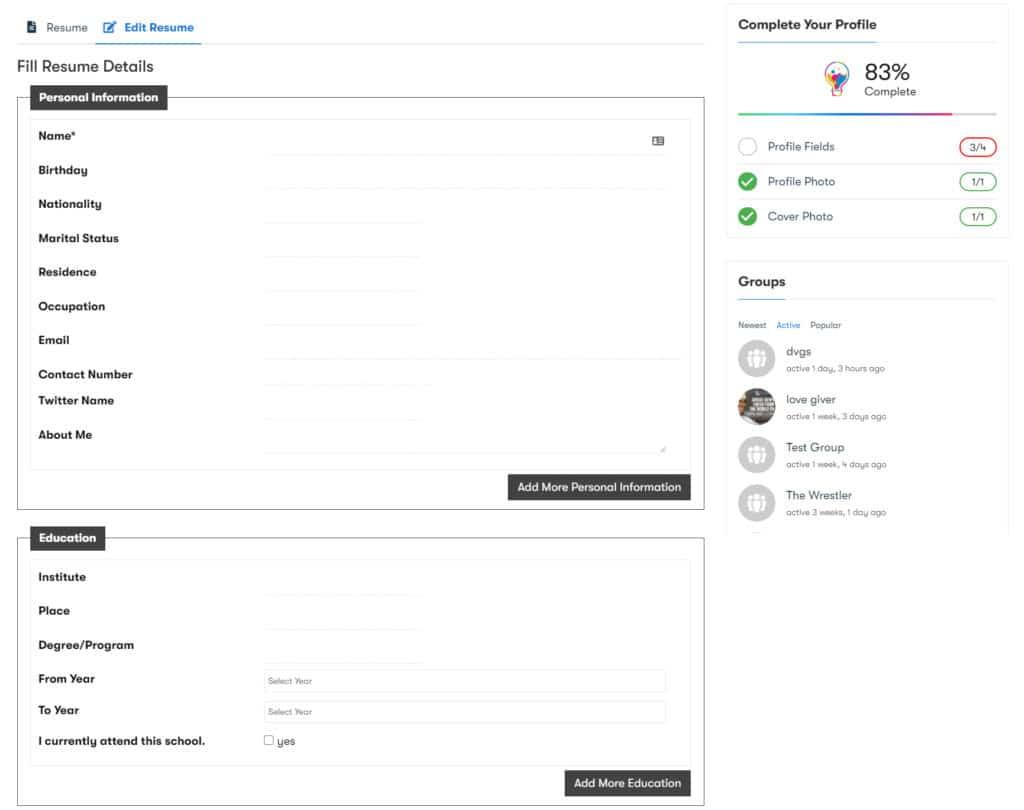 BuddyPress Resume Manager img3 - Wbcom Designs
