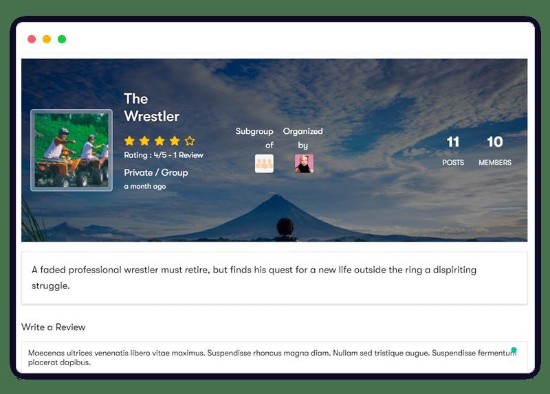 Group Reviews frontshow - Wbcom Designs