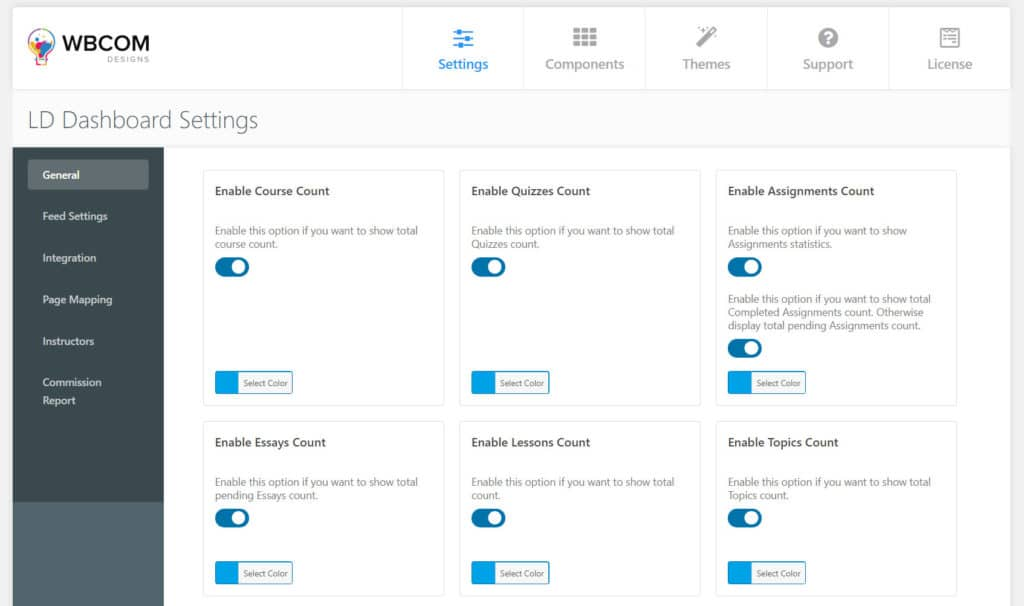 LD Dashboard setting - Wbcom Designs
