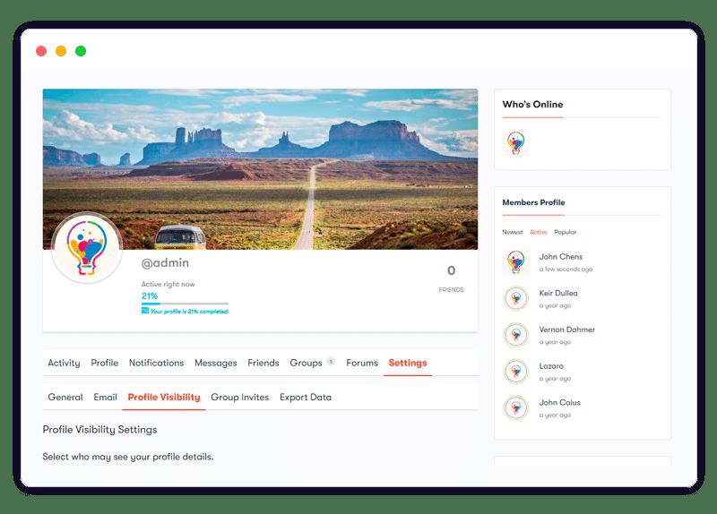profile visibility setting
