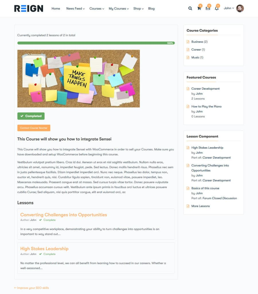 Single Course Lession - Wbcom Designs