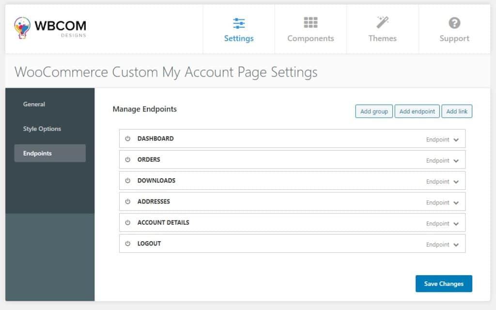 custom my account Endpoints - Wbcom Designs