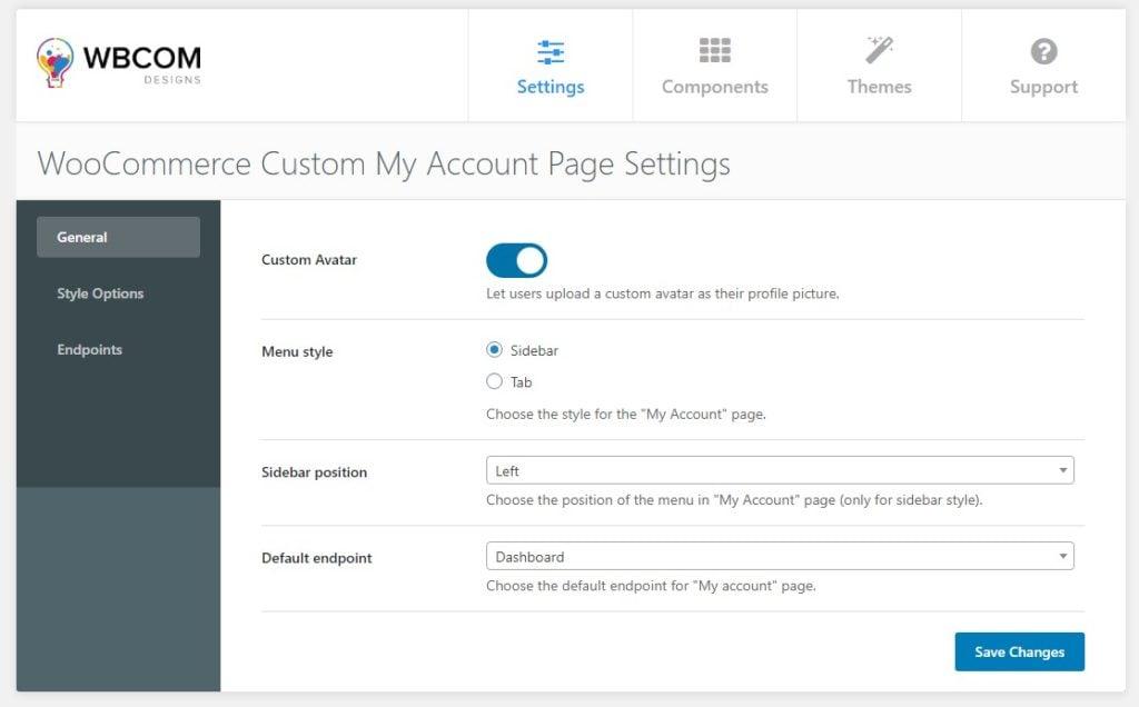 custom my account General setting - Wbcom Designs