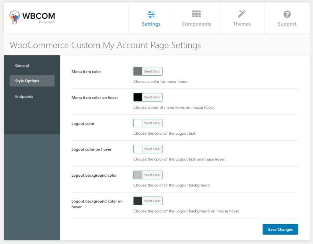 custom my account style setting - Wbcom Designs