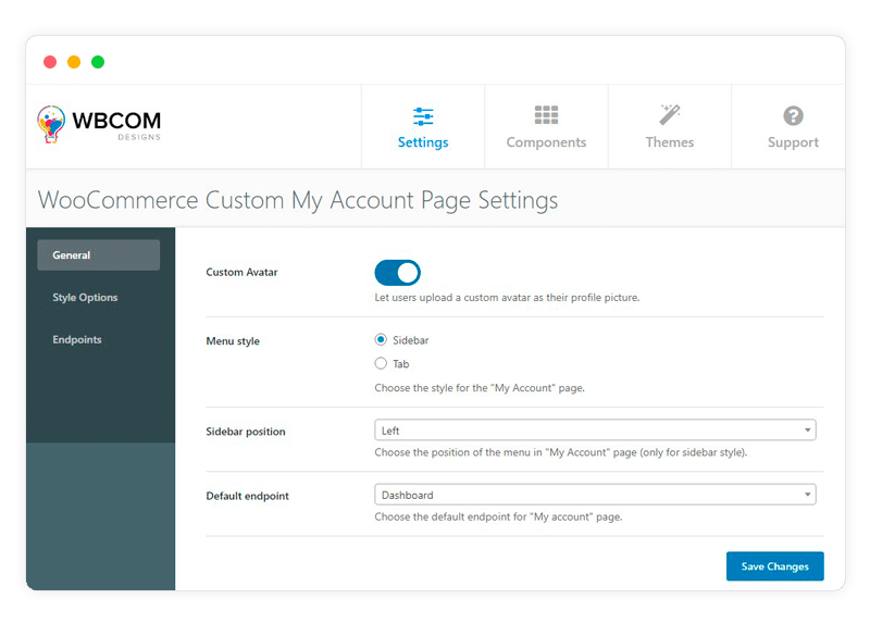 my account page setting view - Wbcom Designs
