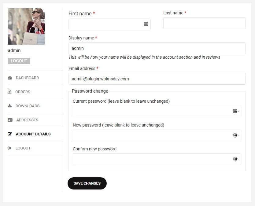 my account page - Wbcom Designs