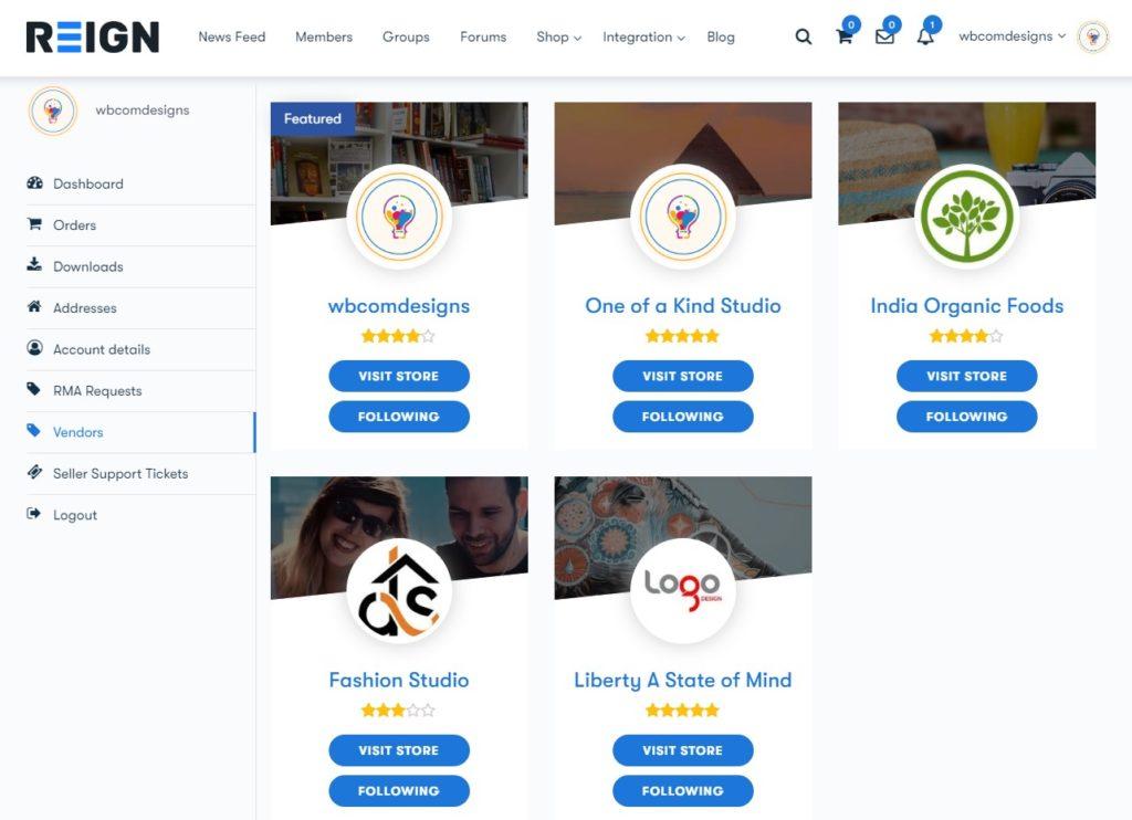 my account vendors list - Wbcom Designs