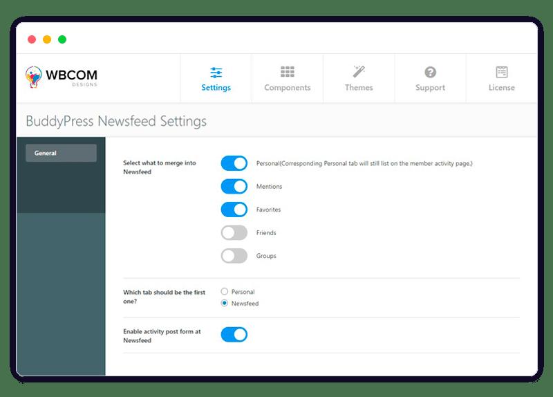 newsfeed admin - Wbcom Designs
