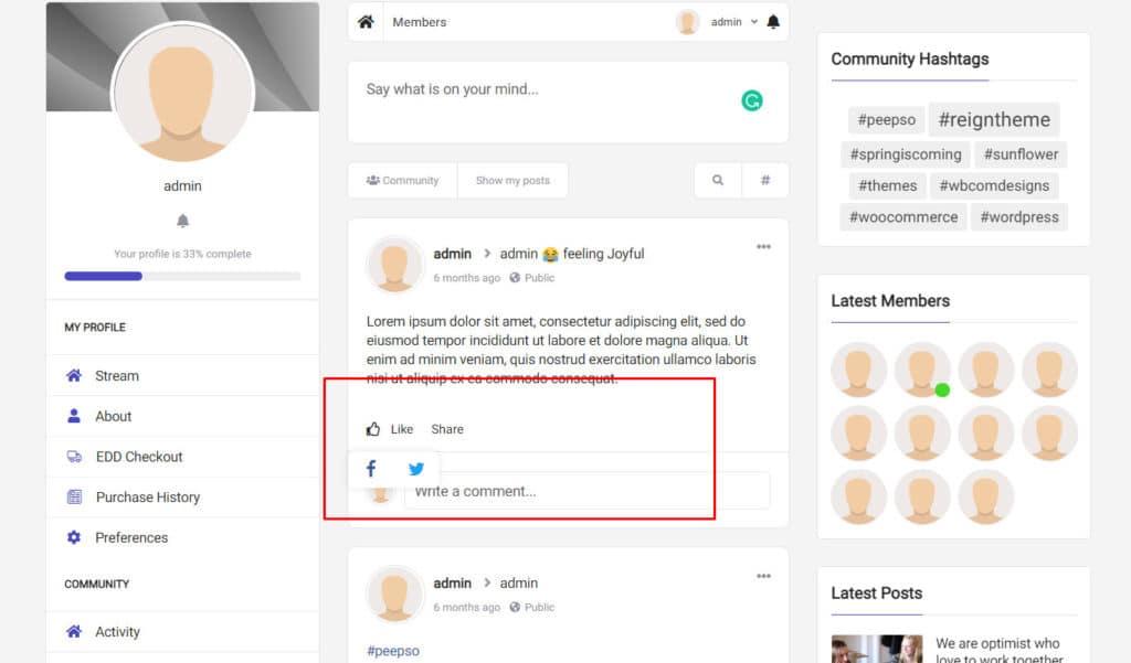 peepso activity social share - Wbcom Designs