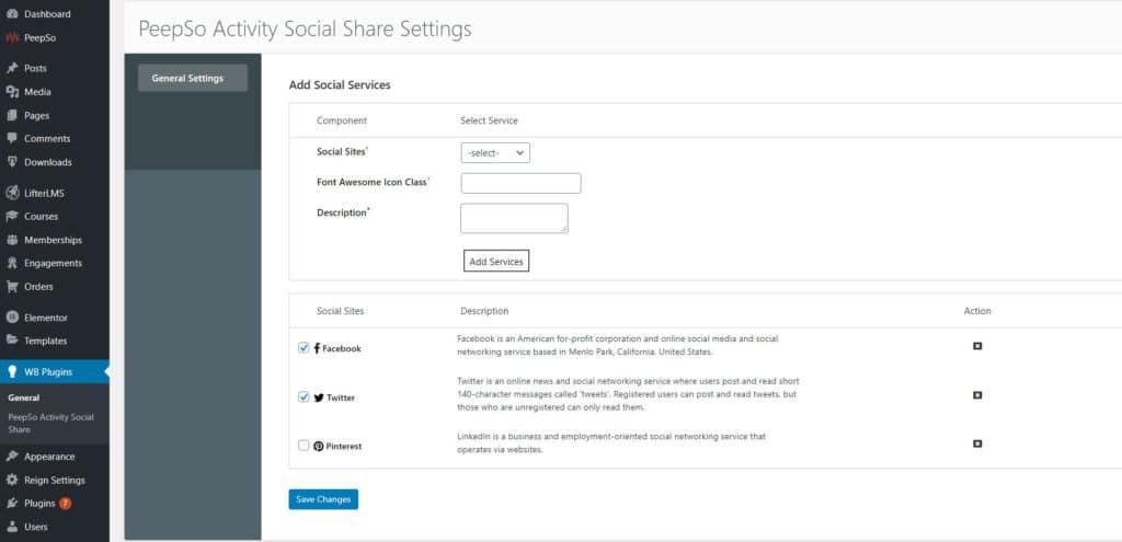 peepso activity social share backend - Wbcom Designs