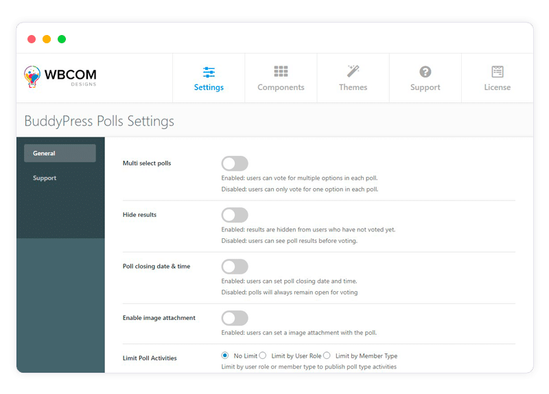 poll setting - Wbcom Designs