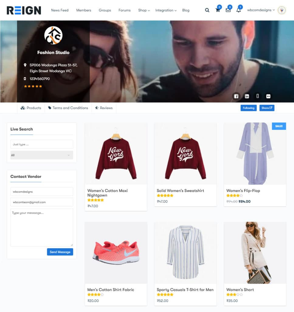 single vendors view - Wbcom Designs