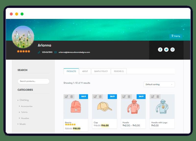 vendors single view - Wbcom Designs
