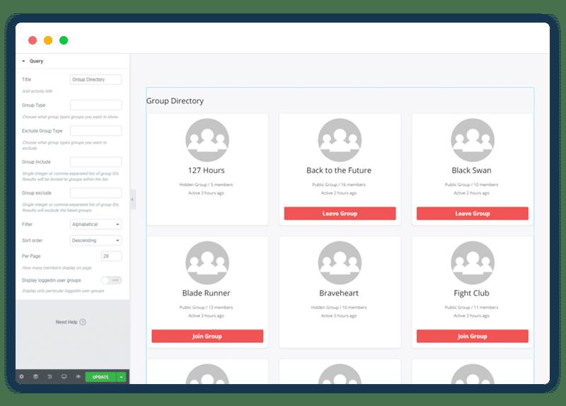 BuddyPress Elementor Widgets